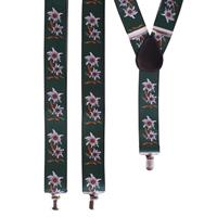 Oktoberfest - Groene Edelweiss bretels met bloemen