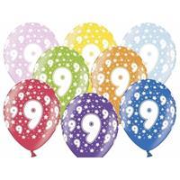 Ballonnen 9 met sterretjes 6x
