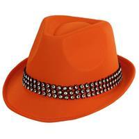 Bellatio Oranje hoed met zilveren steentjes