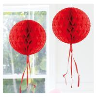 Decoratie bol rood 30 cm