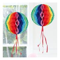 Decoratie bol in regenboog kleuren 30 cm