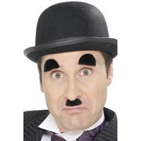 Smiffys Charlie Chaplin snor en wenkbrauwen