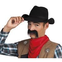 Bellatio Cowboy snor zwart Zwart