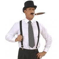 Bellatio Zwarte stropdas met witte stippen