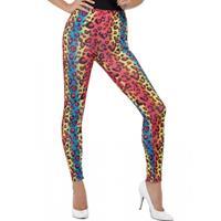 Eighties legging met neon luipaard print