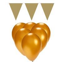 Fun & Feest party gadgets Gouden versiering 15 ballonnen en 2 vlaggenlijnen