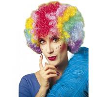 Bellatio Clownspruik multikleuren voor dames
