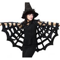 Bellatio Zwarte spinnenweb cape voor volwassenen
