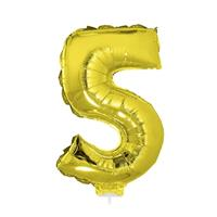 Bellatio Gouden opblaas cijfer 5 op stokje cm
