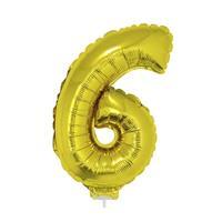 Bellatio Gouden opblaas cijfer 6 op stokje cm