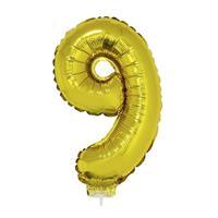 Bellatio Gouden opblaas cijfer 9 op stokje cm