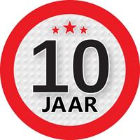 Shoppartners 10 jaar sticker rond 9 cm