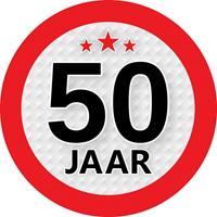 Shoppartners 50 jaar sticker rond 9 cm