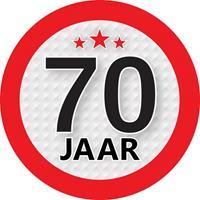 Shoppartners 70 jaar sticker rond 9 cm