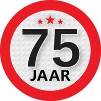 Shoppartners 75 jaar sticker rond 9 cm