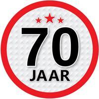 Shoppartners 70 jaar sticker rond 15 cm