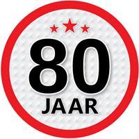Shoppartners 80 jaar sticker rond 15 cm