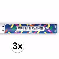 Bellatio 3x Confetti kanon metallic kleuren mix cm