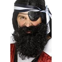 Smiffys Piraten baard zwart gekruld