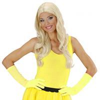Bellatio Neon gele lange handschoenen