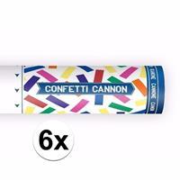 Bellatio 6x Confetti kanon kleuren mix 20 cm