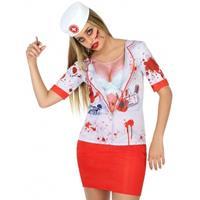 Bellatio Horror zuster verkleed shirt voor dames