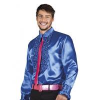 Bellatio Voordelige blauwe rouche blouse Blauw
