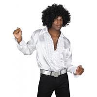 Bellatio Voordelige witte rouche blouse Wit