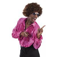 Bellatio Voordelige fuchsia rouche blouse Roze