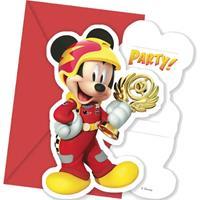 Disney 6 Mickey & Donald Racing uitnodigingen en enveloppen