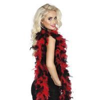 Zwart/rode veren boa 180 cm