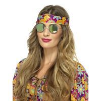 Smiffys Hippie bril groene spiegelglazen voor volwassenen