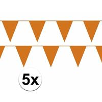 Bellatio 5x oranje vlaggenlijn / slinger 10 meter
