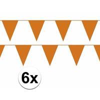 Bellatio 6x oranje vlaggenlijn / slinger 10 meter