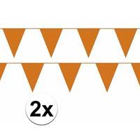 Bellatio 2x oranje vlaggenlijn / slinger 10 meter