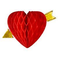 Decoratie rood hart met pijl 13 cm