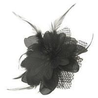 Haarbloem zwart met veertjes