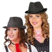 Zwarte trilby hoed met krijtstreep voor volwassenen