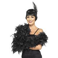 Luxe zwarte veren boa 80 gram