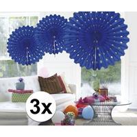 3x Decoratie waaier blauw 45 cm