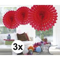 3x Decoratie waaier rood 45 cm