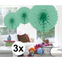 3x Decoratie waaier mint groen 45 cm
