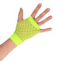 Groene korte rocker/punker visnet handschoenen voor volwassenen