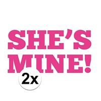 Bellatio 2x Bruiloft She is Mine stickers voor onder je schoen