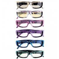 Bellatio Rechthoekige glimmende brillen blauw