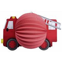 Shoppartners Lampion rode brandweerauto 20 cm Rood