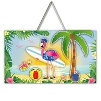 EzyDog Deurbord Flamingo on the beach 3D