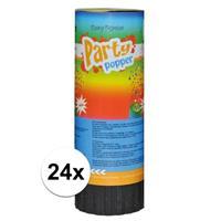 24x Mini party poppers 11 cm Multi