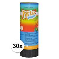 30x Mini party poppers 11 cm Multi