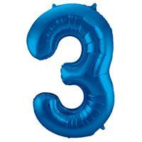 EzyDog Folie Ballon Cijfer 3 Blauw cm